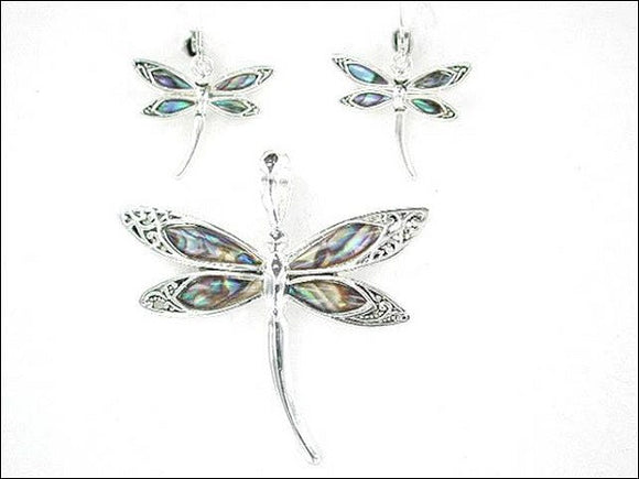 ABALONE DRAGONFLY PENDANT AND EARRINGS SET ( 1454 )