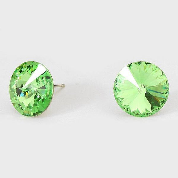 14mm Lime Green Crystal Stud Earrings ( 03 )