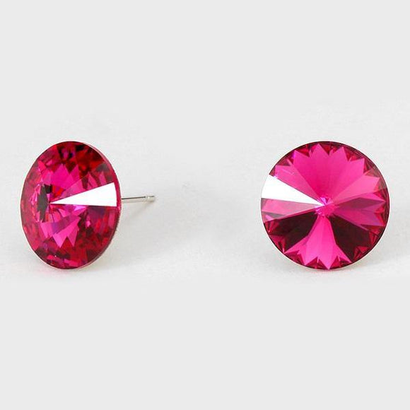 14mm Fuchsia Pink Crystal Stud Earrings ( 14 25 )