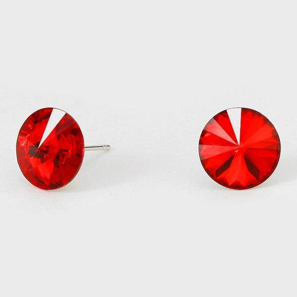 11mm Red Crystal Stud Earrings ( 47 14 )