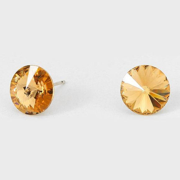 11mm Topaz Brown Crystal Stud Earrings ( 47 23 )