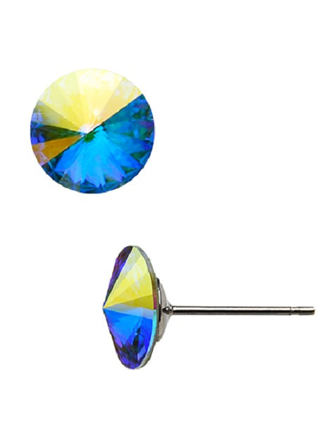 11mm Blue Vitrail Crystal Stud Earrings