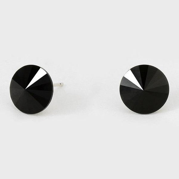 11mm Black Crystal Stud Earrings ( 47 18 BK )