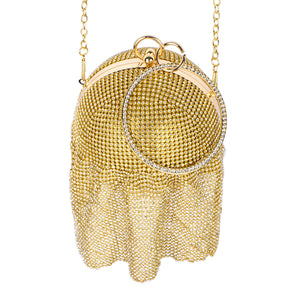 Gold Mesh Crystal Fringe Ball Evening Purse ( 0001 )