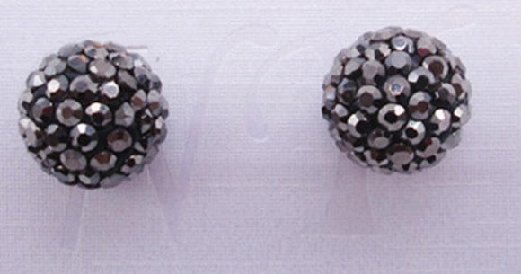 12mm HEMATITE Rhinestone Ball Stud Earrings ( 03 36 HT )