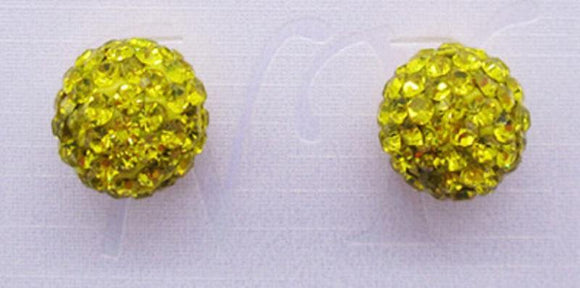 12mm YELLOW Rhinestone Ball Stud Earrings ( 03 41 YW )