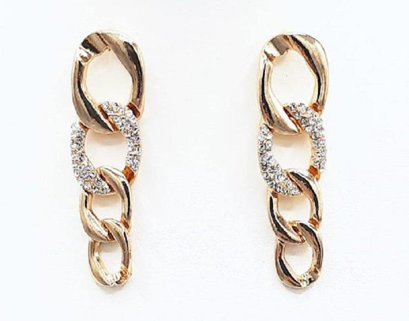 GOLD CHAIN EARRINGS CLEAR STONES ( 1186 GD )