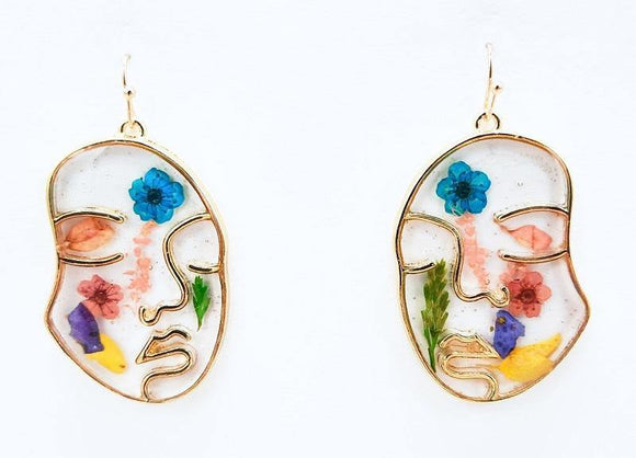 GOLD MULTI COLOR FACE FLOWER ACRYLIC EARRINGS ( 1228 GDMT )