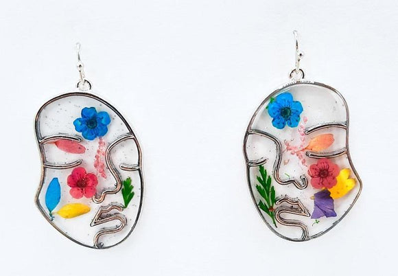 SILVER MULTI COLOR FACE FLOWER ACRYLIC EARRINGS ( 1228 RHMT )