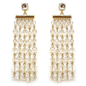 "4"" Long Translucent Beaded Fringe Earrings with Gold Accents ( 4253 )"
