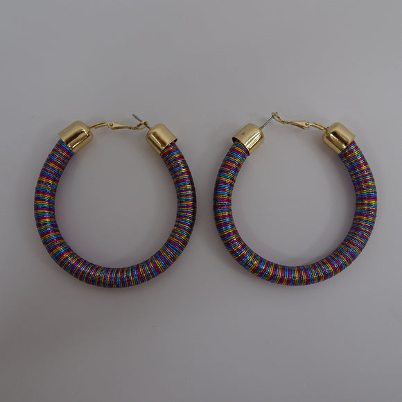 MULTI COLOR HOOP  WIRE EARRINGS ( 9180 )