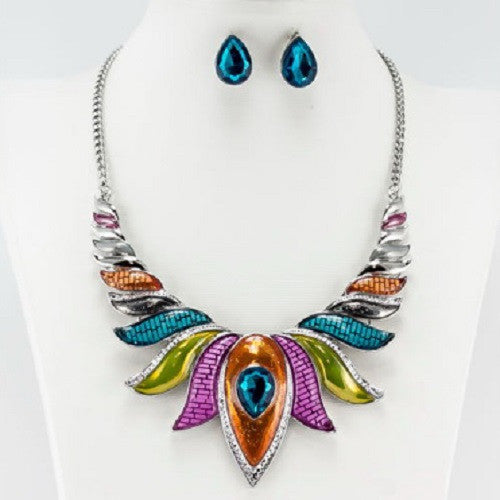 Multi Color Epoxy Teardrop Stone Fashion Necklace with Stud Earrings