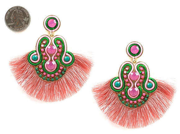 PINK AND GREEN TASSEL EARRINGS SOUTACHE ( 4458 )