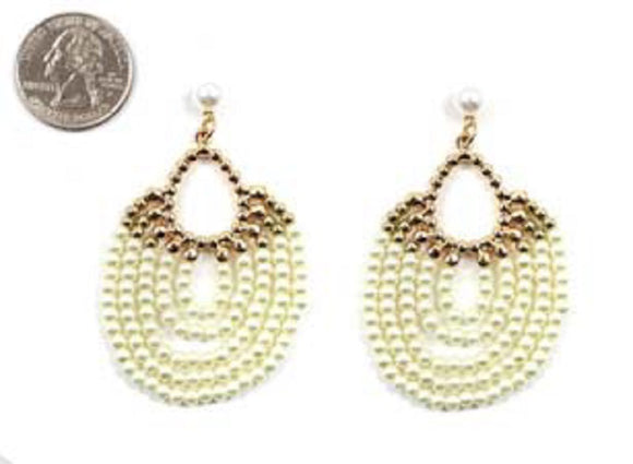 CREAM PEARL LINK DROP POST FASHION EARRINGS ( 4597 )