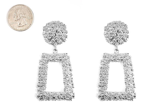 SILVER METAL EARRINGS ( 4650 RH )