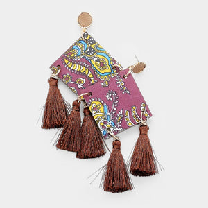 "4 1/4"" Brown Tassel with Fashion Design Square Dangle Fashion Statement Earrings ( 20158 )"