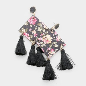 "4 1/4"" Black Tassel with Rose Design Square Dangle Fashion Statement Earrings ( 20158 )"
