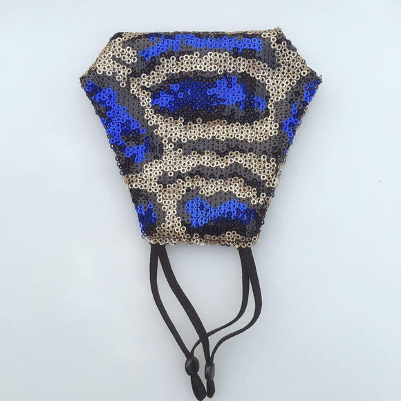 BLUE BLACK GOLD SERAPE LEOPARD PRINT SEQUIN FACE MASK ( 120 ) - Ohmyjewelry.com