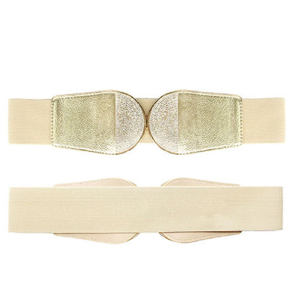 GOLD ELASTIC BELT CLEAR CRYSTAL ROUND ( 8017 )