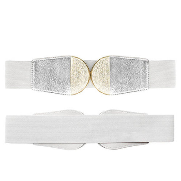 SILVER GOLD ELASTIC BELT CLEAR CRYSTAL ROUND ( 8017 )