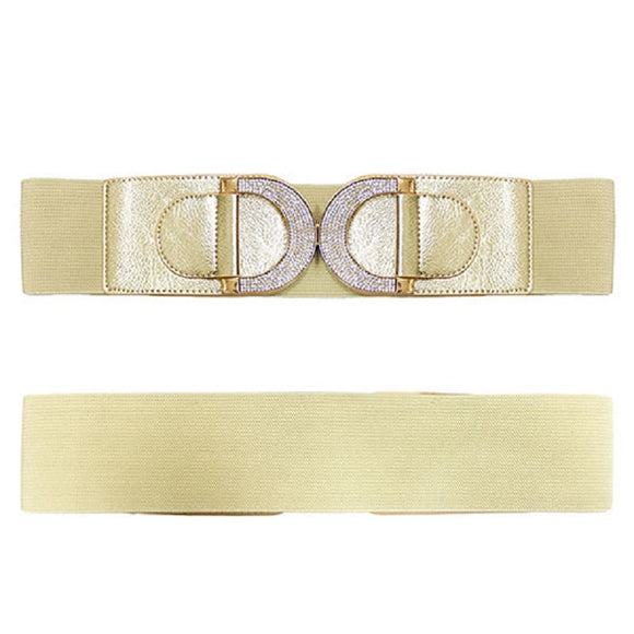 GOLD CLEAR STONE BUCKLE FAUX LEATHER BELT ( 8019 )