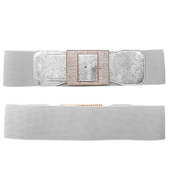 SILVER GOLD LEATHERETTE STRETCH BELT CLEAR STONES BUCKLE ( 8020 )