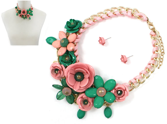 PINK AND GREEN Multi Flower Statement Necklace with Flower Studs  ( 1234 )