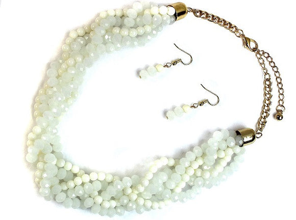 Cream and White Crystal Beaded Braided Style Necklace with Earrings