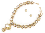 GOLD NECKLACE WITH TOPAZ AND EARRINGS ( 7113 )