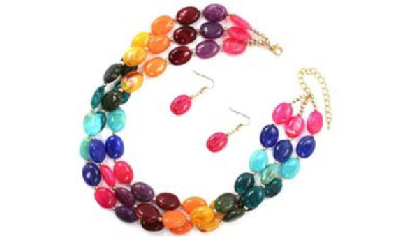 MULTI COLOR 3 LAYER OVAL BEADED NECKLACE SET ( 7196 )