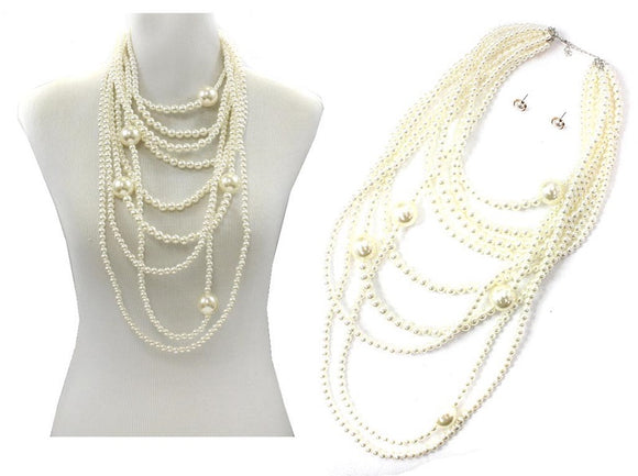 LONG MULTI LAYER CREAM PEARL NECKLACE WITH MATCHING EARRINGS ( 7490 GDCRP )