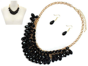 Black Glass Beaded Teardrops on a Gold Chain with Matching Earrings ( 6442 )