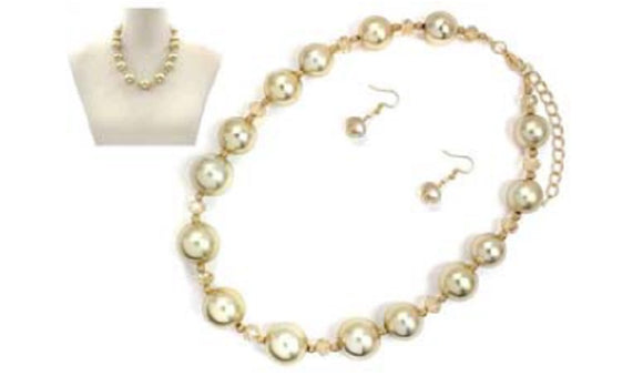 Brushed Gold Color Round and Topaz Crystal Beaded Necklace Set ( 6740 )