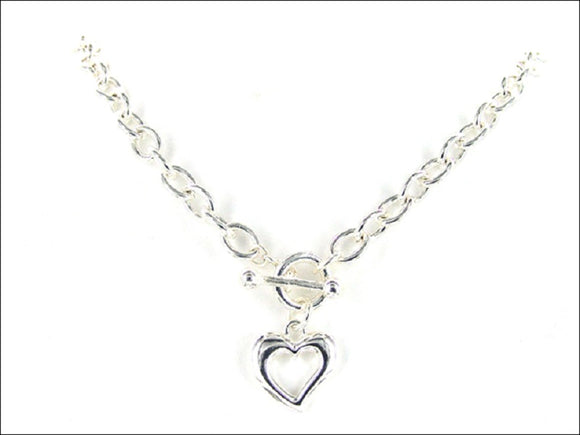 Silver Toggle Necklace with Open Heart Charm ( 979 )