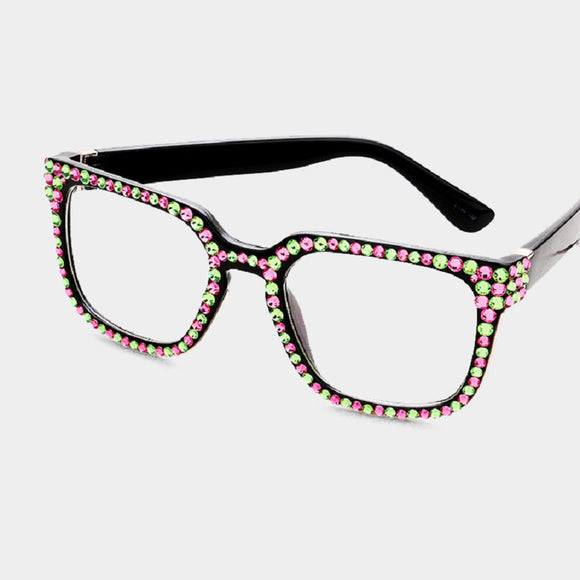 Pink and Green Swarovski Stones Square Fashion Glasses UV 400 ( MOG-17 )