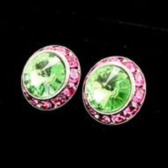 Small Pink and Green Rondelle Crystal Stud Earrings - Ohmyjewelry.com