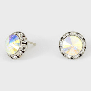 "1/2"" Silver AB Rondelle Crystal Stud Earrings"