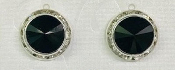 16mm Medium Silver BLACK Rondelle Crystal Clip On Earrings ( 47 10 CLIP )