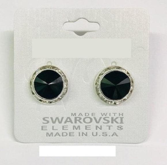 16mm Silver BLACK SWAROVSKI Stud Earrings ( 47 BK )