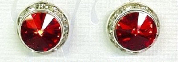 16mm Medium Silver RED Rondelle Crystal Clip On Earrings ( 47 14 CLIP )