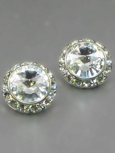 Large Clear Rondelle Crystal Stud Earrings ( 14 01 CL )