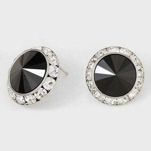 Large Black Rondelle Crystal Stud Earrings