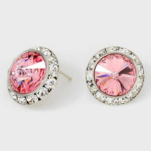Large Rose Pink Rondelle Crystal Stud Earrings