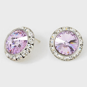 Large Lavender Purple Rondelle Crystal Stud Earrings