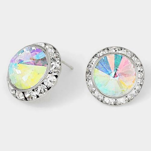 Large AB and Clear Rondelle Crystal Stud Earrings ( 14 11 AB )