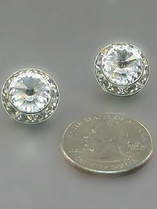 16mm Medium Silver Clear Rondelle Crystal Clip On Earrings