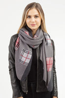 GREY BLOCKED PLAID PLEATED SCARF ( 0072 )