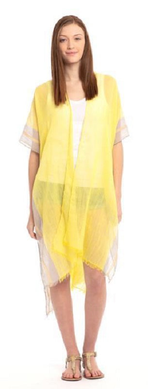 YELLOW TWO TONE TRIM SOLID KIMONO ( 0081 )