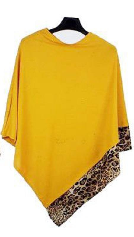 ALL YEAR ROUND LEOPARD TRIM SOLID MUSTARD YELLOW PONCHO ( 0089 MUS )