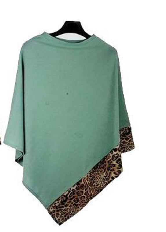 ALL YEAR ROUND LEOPARD TRIM SOLID TEAL PONCHO ( 0089 )